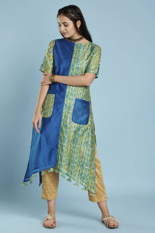 Blue Green Colour Block High Low Hem Straight Cut Kurti With Front Patch Pockets & Tassels At Hem