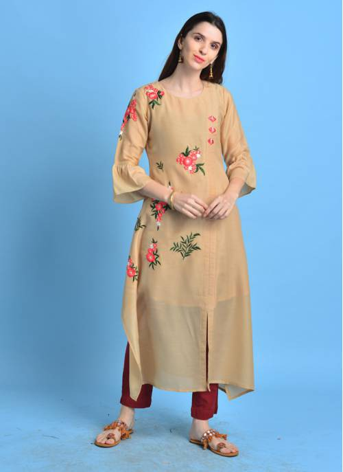 Nafisa- Fawn Color Cotton Blend Kurta With Embroidered Buti Details.