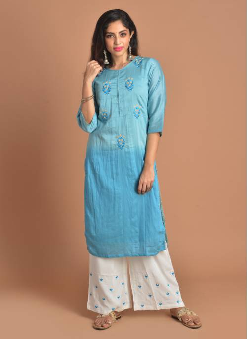 Inaayat Blue Pearl Embroidered Round Neck Kurta And White Bottom