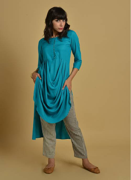 Athena - Teal Green Round Neck Kurti Dress With 3/4th Sleeves & Cowl Drape