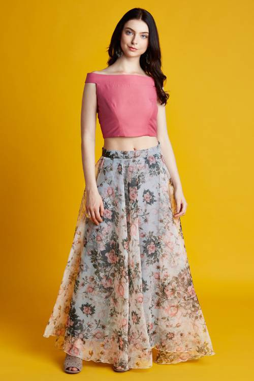 22c3e119e7 Buy Florence- Pink Off Shoulder Crop Top With Floral Printed Organza Skirt  Online | Craftsvilla