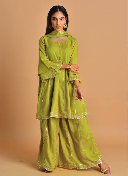Gotta Embelished Lime Green Kalidar Kurta Set With Palazzo And Dupatta