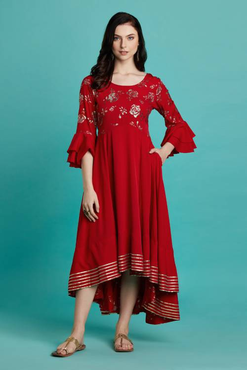 Saumana- Red Foil Printed Asymmetric Kurti Dress With Round Neck And Ruffled Sleeves