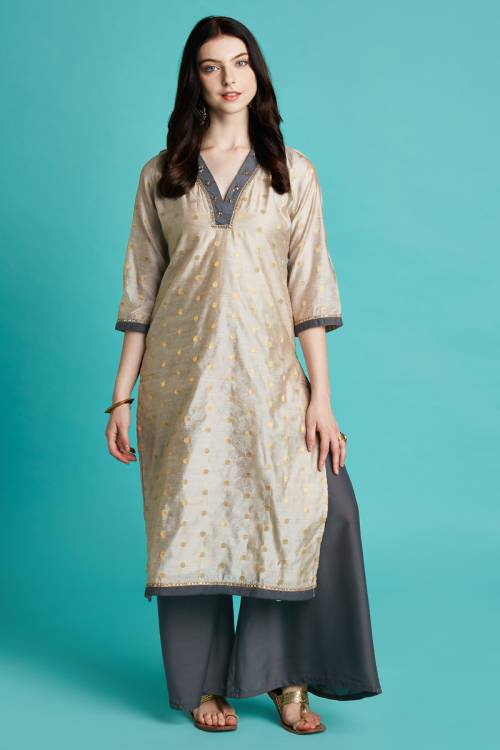 Ash Grey Dot Jacquard Fabric Chanderi Kurti Set With Hand Embroidery On Neck And Piping Details On Sleeve.