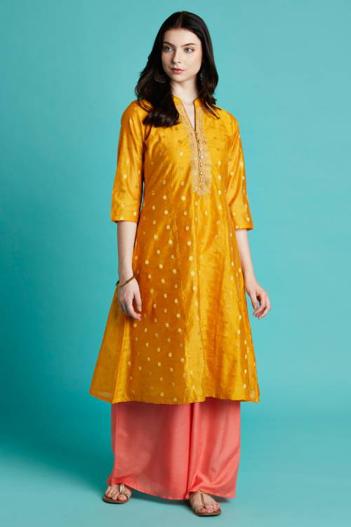 Musturd Color Chanderi Kurta Set In Dots Jacquard Fabric With Delicate  Embroidery On Placket
