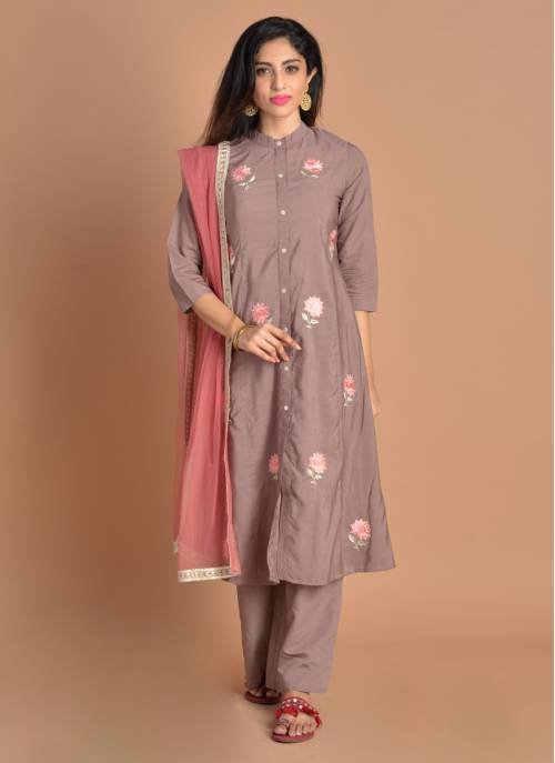 Inaayat Floral Embroidred Brown Kurta With Salwar And Net Dupatta