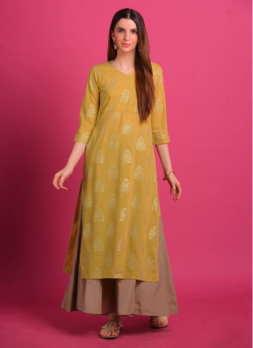 Buttercup Yellow Rubber Foil Print Kurti With Mud Grey Kalidar Palazzo. Note : Do Not Iron On Print