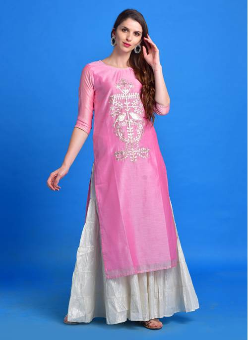 Meher - Poised Pink Chanderi Kurti With Silver Pita Embroidery