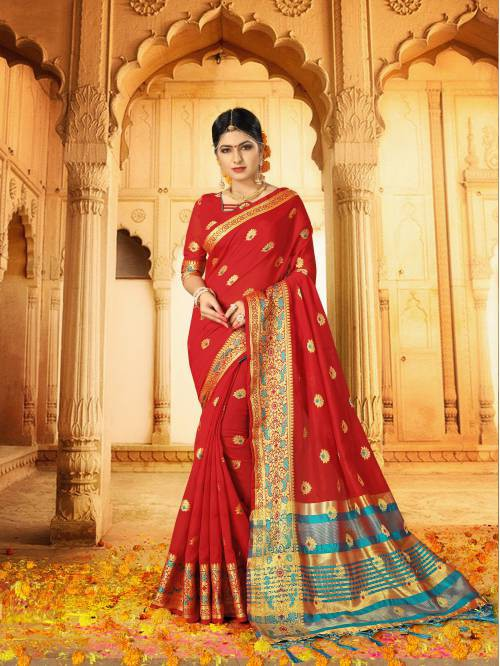 Craftsvilla Red Silk Traditional Woven Saree With Unstitched Blouse Piece