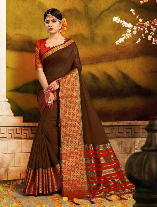 Craftsvilla Brown Silk Traditional Woven Saree With Unstitched Blouse Piece