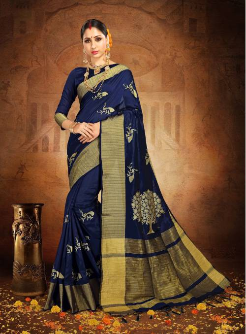 Navy Silk Traditional Woven Saree With Unstitched Blouse Piece