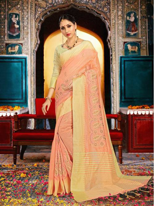 Craftsvilla Peach Silk Traditional Woven Saree With Unstitched Blouse Piece