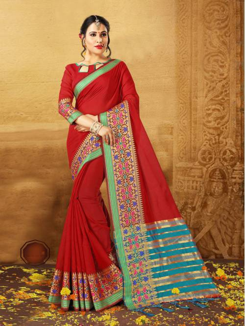 Red Silk Traditional Woven Saree With Unstitched Blouse Piece