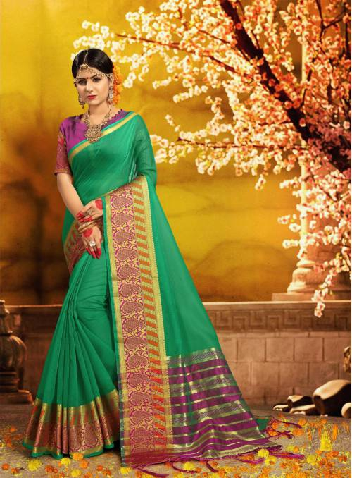 Green Silk Traditional Woven Saree With Unstitched Blouse Piece