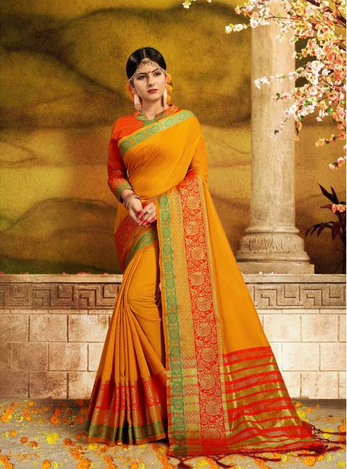Craftsvilla Orange Silk Traditional Woven Saree With Unstitched Blouse Piece