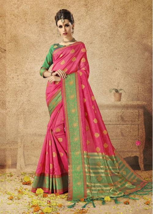 Craftsvilla Pink Silk Traditional Woven Saree With Unstitched Blouse Piece