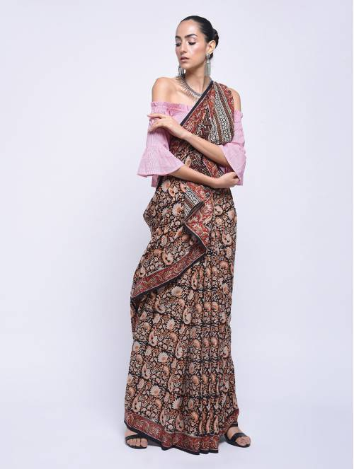 Craftsvilla Red Cotton Traditional Saree With Unstitched Blouse Piece