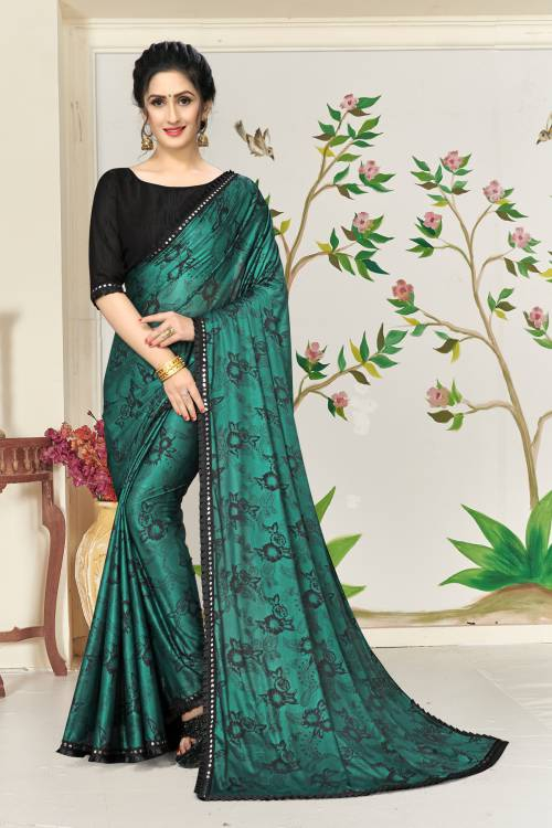 Green Lycra Floral Printed Designer Saree With Unstitched Blouse Piece