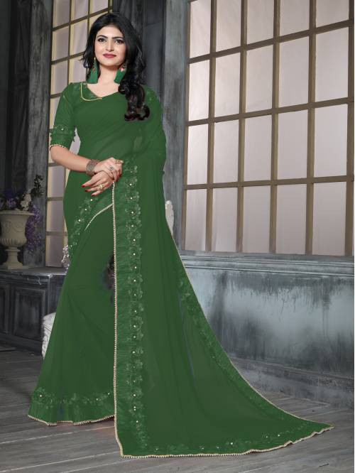 Green Georgette Lace Work Saree With Unstitched Blouse Piece