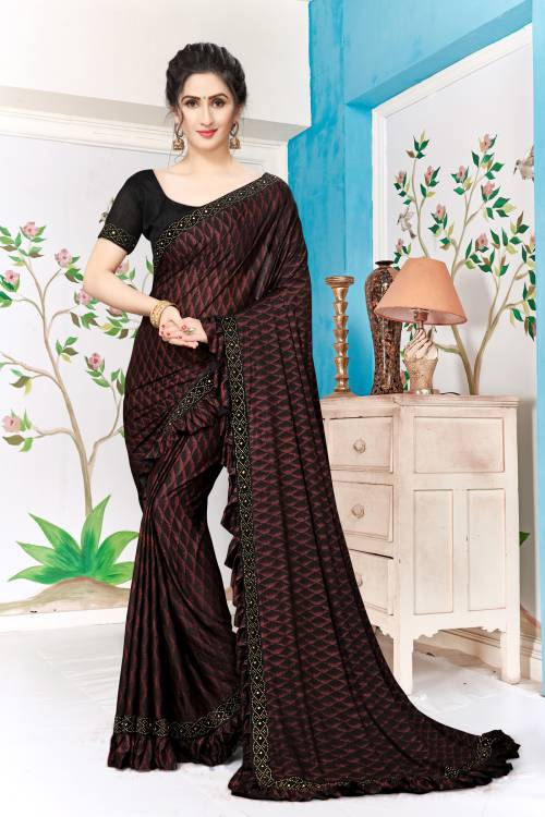 Maroon Lycra Lace Work Designer Saree With Unstitched Blouse Piece