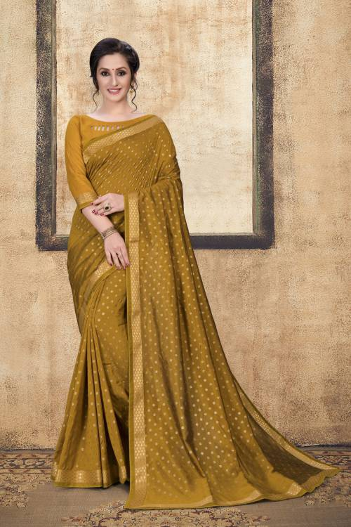Yellow Art Silk Lace Work Saree With Unstitched Blouse Piece