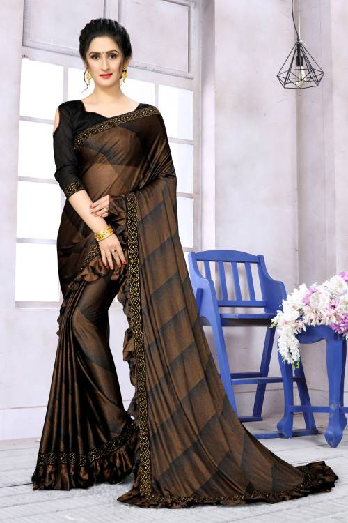Brown Lycra Lace Work Designer Saree With Unstitched Blouse Piece