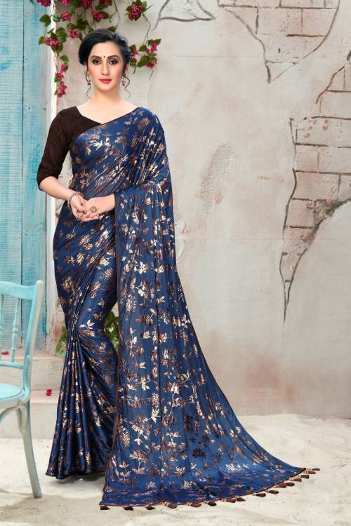 Brown Silk Floral Print Saree With Unstitched Blouse Piece
