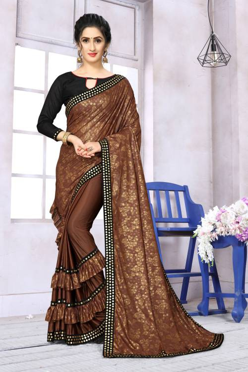 Brown Lycra Floral Printed Designer Saree With Unstitched Blouse Piece