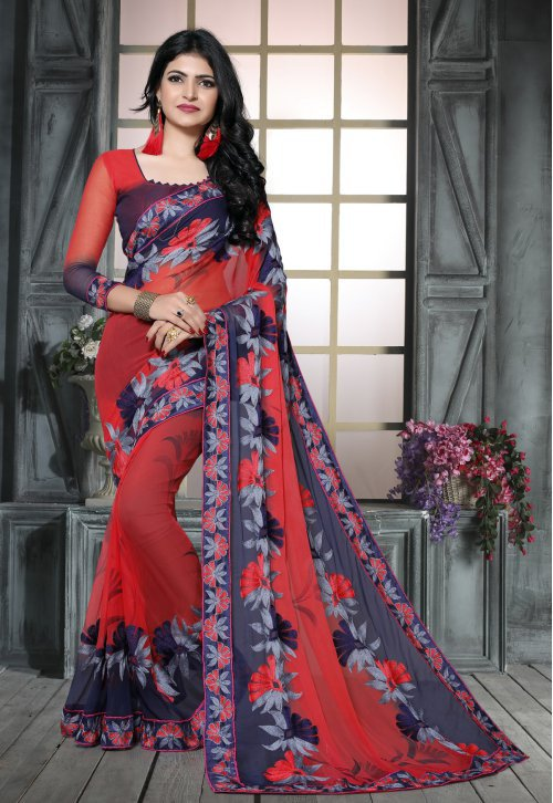 Craftsvilla Red Chiffon Embroidered Designer Saree With Unstitched Blouse Material