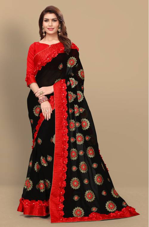 Black Georgette Embroidered Designer Saree With Blouse Piece