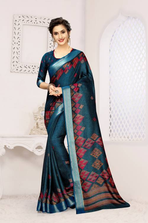 Teal Green Linen Printed Saree With Blouse Piece