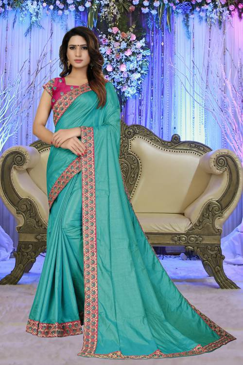 Vedant Vastram Turquoise Silk Resham Embroidered Saree With Blouse Piece