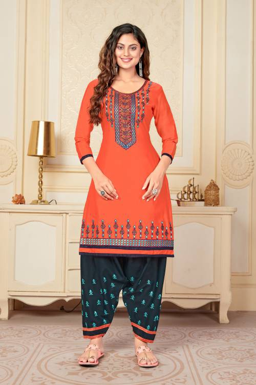 Vedant Vastram Orange Cotton Embroidered Semi Stitched Kurta With Bottom
