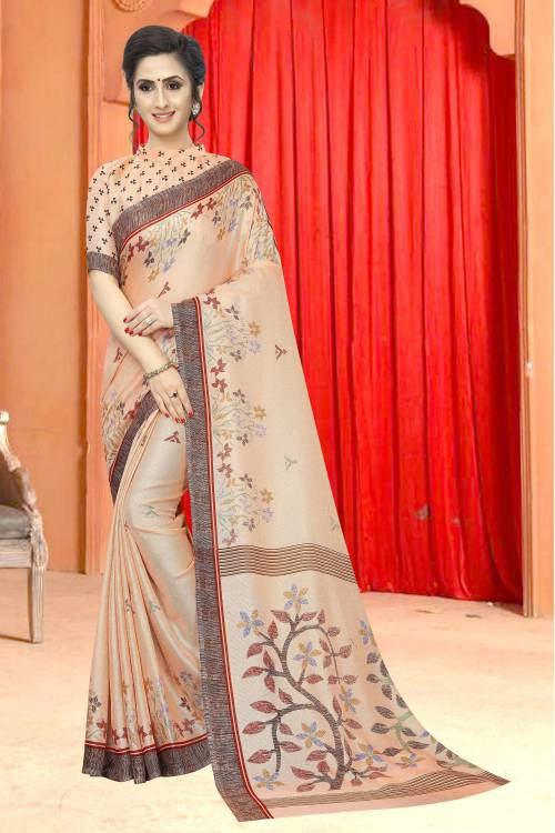 Beige Cotton Printed Saree With Blouse Piece