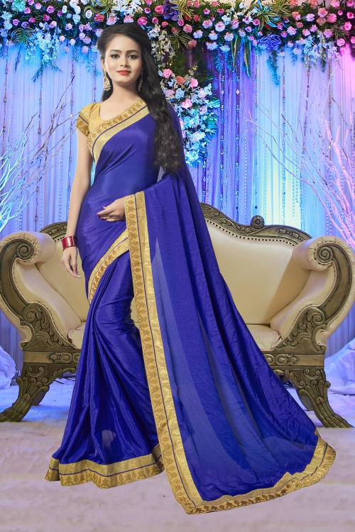 Vedant Vastram Blue Georgette Lace Work Saree With Blouse Piece