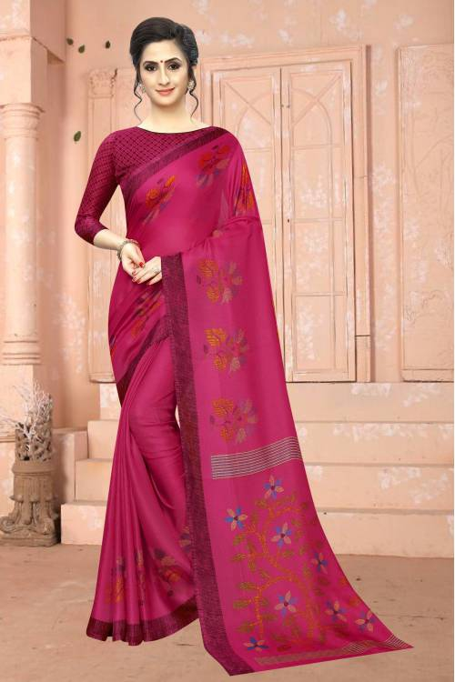 Pink Cotton Printed Saree With Blouse Piece
