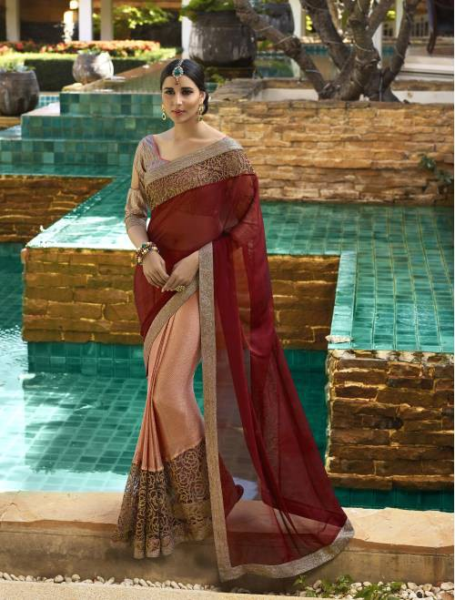 Vedant Vastram Maroon Chiffon Embroidered Saree With Blouse Piece