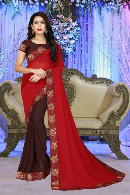 Vedant Vastram Red Georgette Lace Work Saree With Blouse Piece