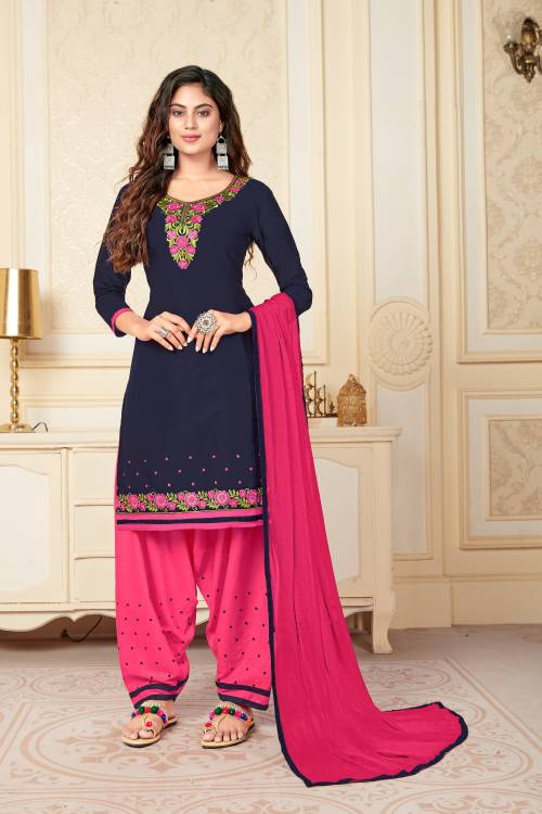 Vedant Vastram Navy Cotton Embroidered Semi Stitched Straight Suit