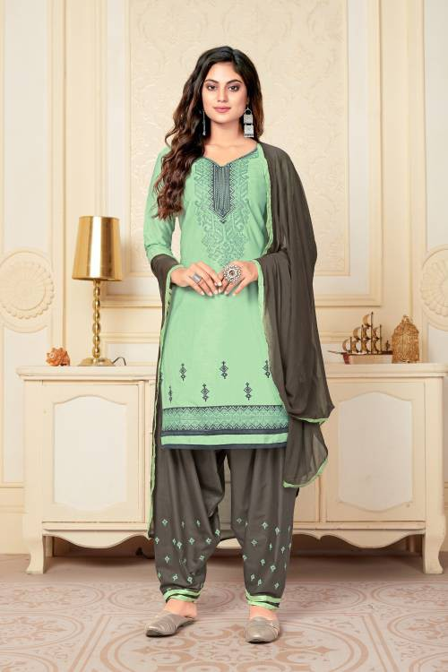 Vedant Vastram Teal Green Cotton Embroidered Semi Stitched Straight Suit