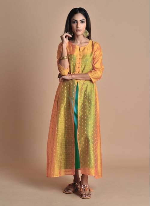 Mehak- Mustard Chanderi Double Layered Kurti