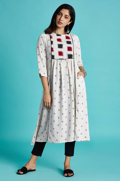 Sui Dhaga - Wishful White Color Printed Kurta With Gathers