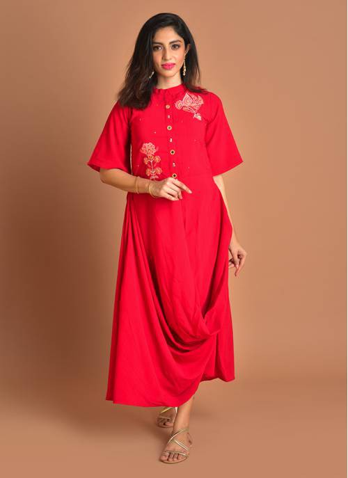 Dressy Drapes - Resplendent Raspberry Embroidered Cowl Dress With Front Buttons