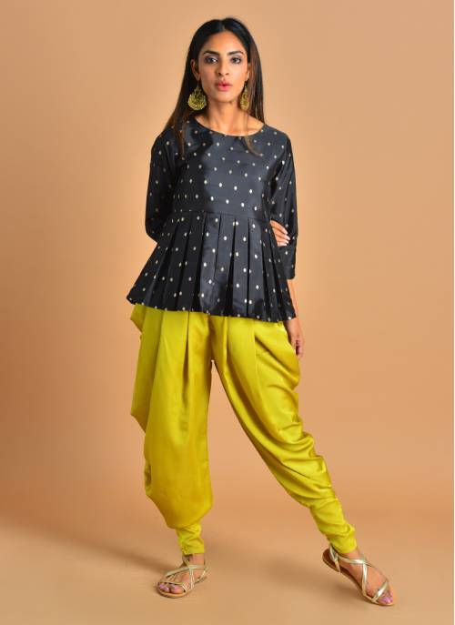 Surili- Black Jaquard Peplum Top Paired With Lime Green Dhoti Pants