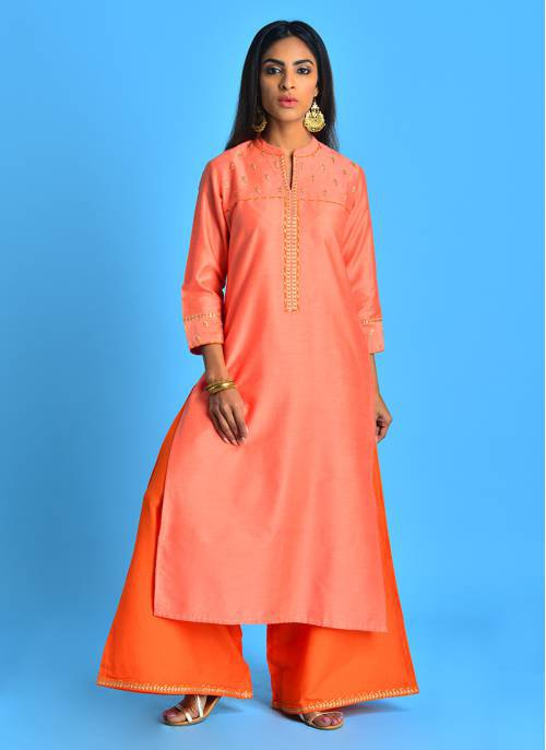 Maheya - Picturesque Peach Solid Kurta With Gold Pita Embroidery