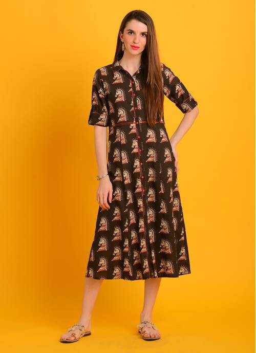 Kalamkari - Brown Color Button Down Ethnic Print Shirt Dress