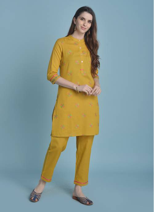 Sui Dhaga - Mellow Mustard Color Chinese Collar Kurta With Cross Stitch Embroidery