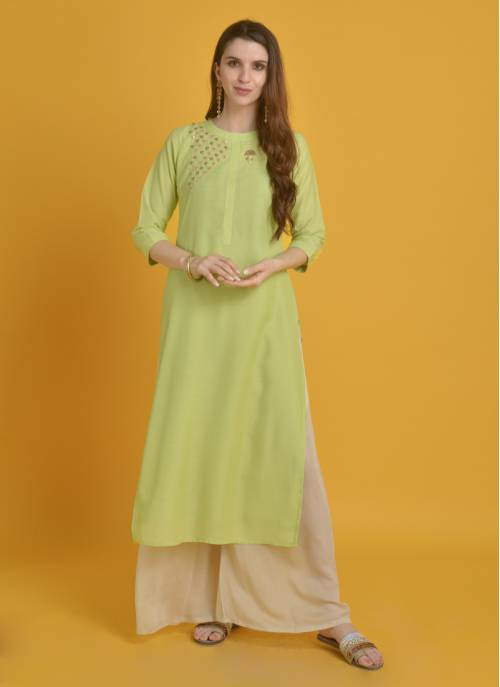 Reina-  Pristine Pista Green Mandarin Collar Kurta With Golden Applique Work