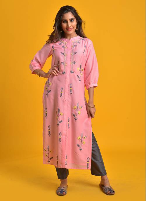 Neeti- Pastel Pink Embroidered Straight Fit Mandarin Collar Kurta With Slim Pant