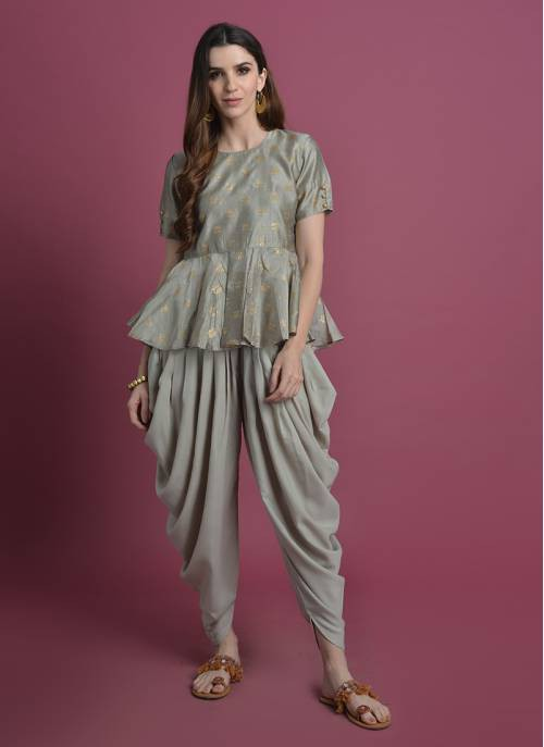 Padma Saras-light Grey Lotus Gold Printed Peplum Top
